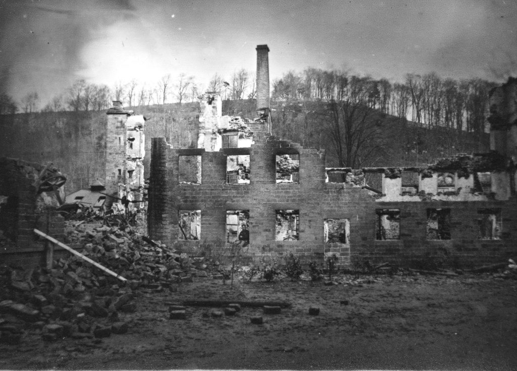 Lumford Mill after the fire 1868